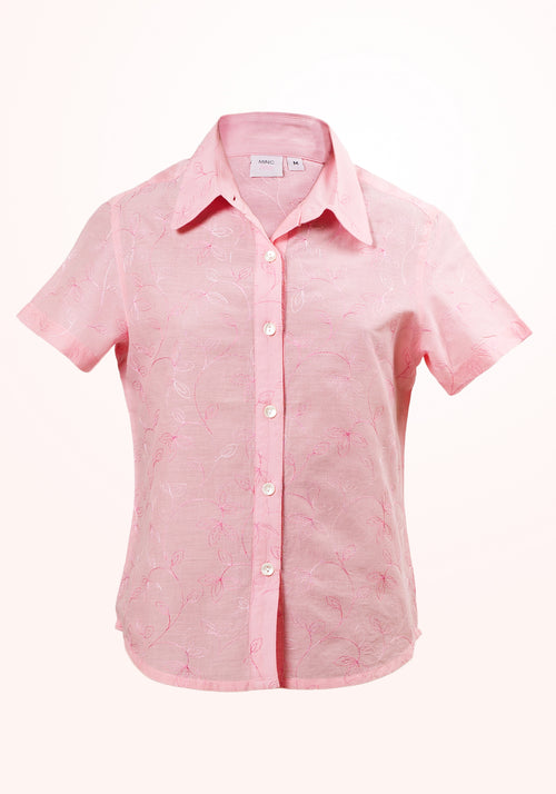 Pink Carnation Girls Top In Embroidered Pink Cotton