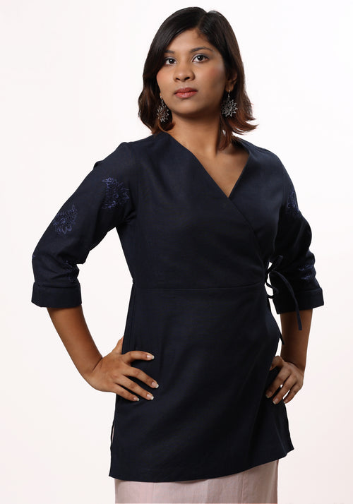 Asymmetric Embroidered Tie Top in Navy Blue Cotton