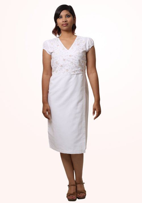 Selena Asymmetric Dress in White Embroidered Linen