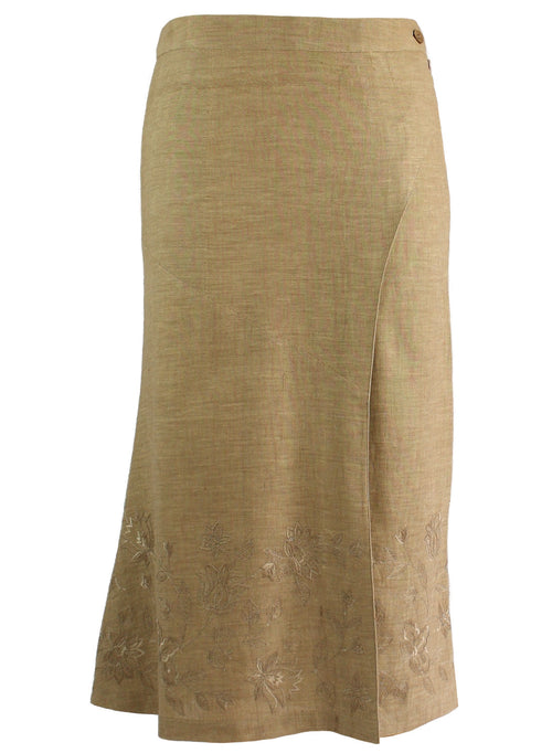 3/4 length Skirt in beige khadi with self floral Embroidery