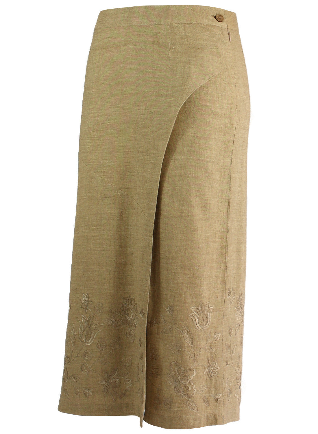 3/4 length Skirt in beige khadi with self floral Embroidery - MINC ecofashion