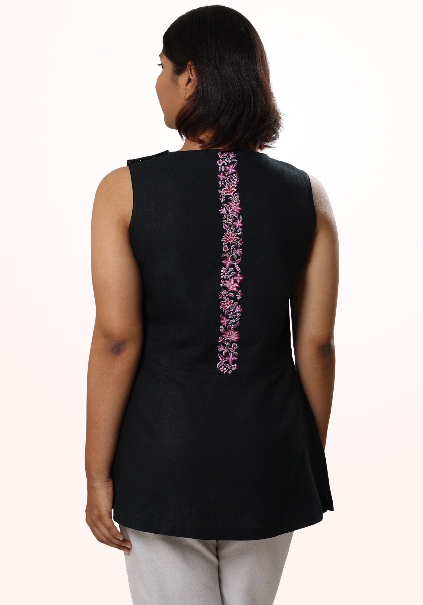 Embroidered Sleeveless Tunic - MINC ecofashion
