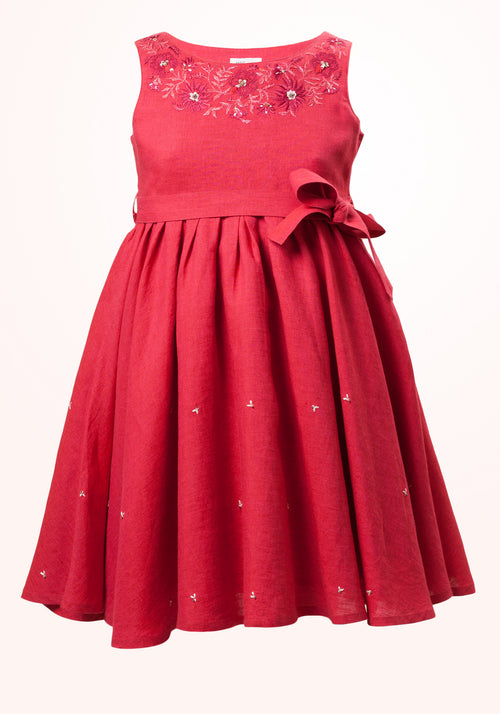 Garnet Girls Short Dress in Fuchsia Embroidered Linen