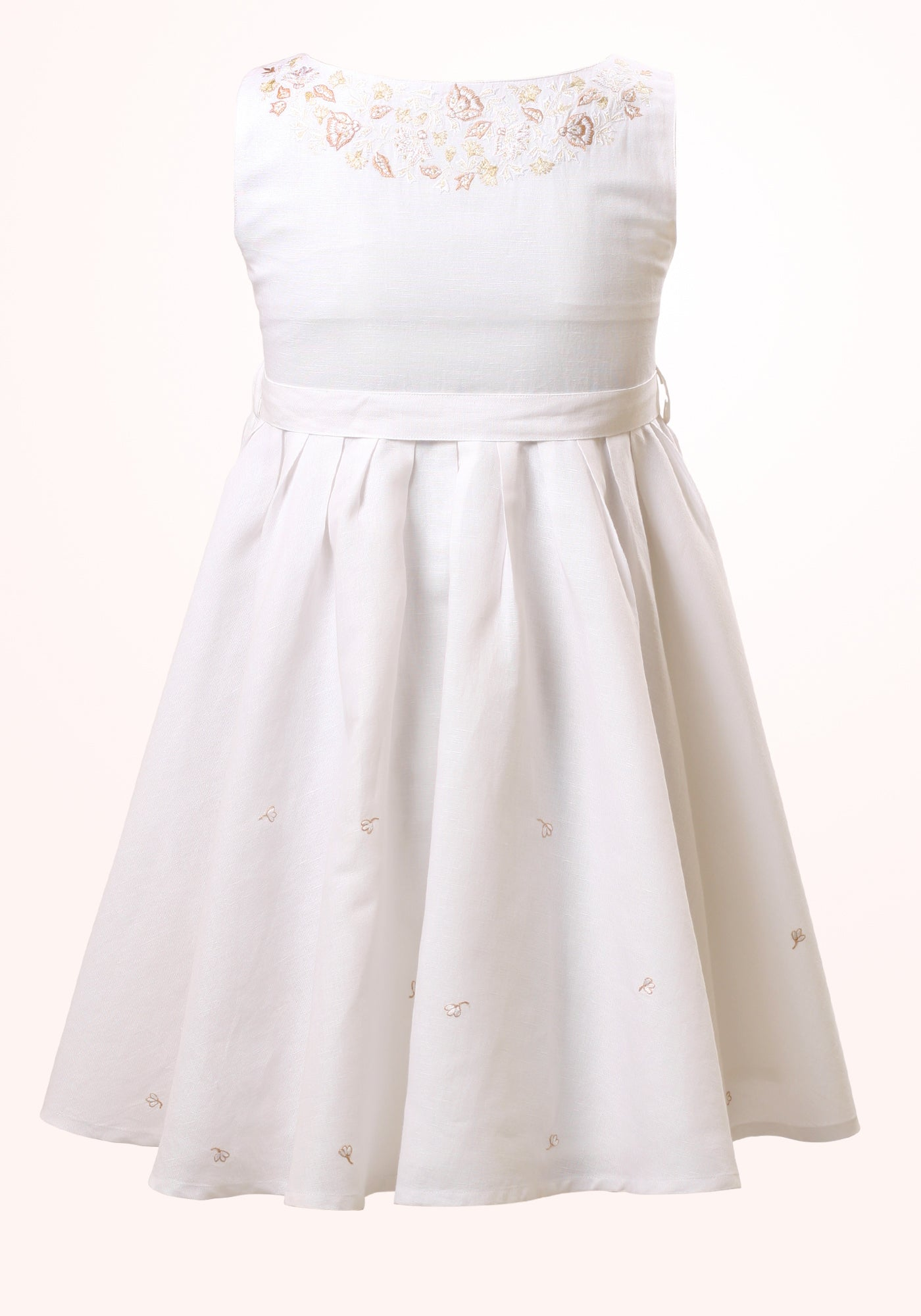 Magnolia Girls Short Dress in White Embroidered Linen - MINC ecofashion