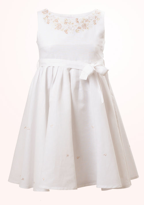 Magnolia Girls Short Dress in White Embroidered Linen