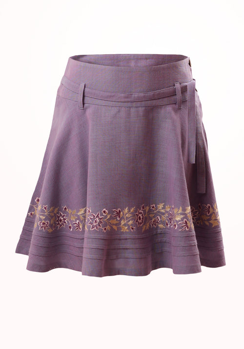 Orchid Girls Skirt in Embroidered Cotton Khadi