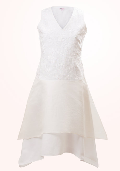 Pearl Linen and Silk Organza Embroidered Girls Dress