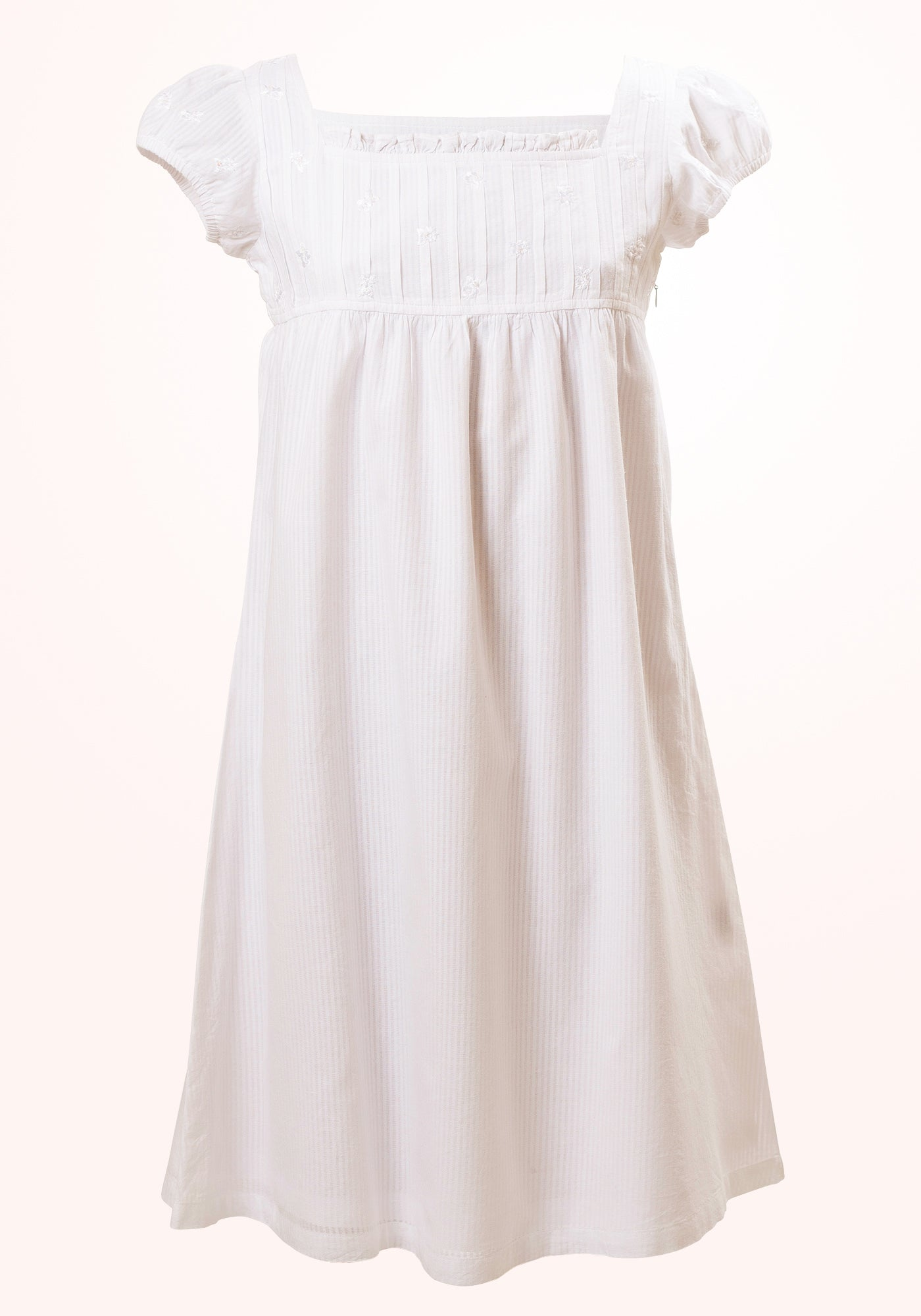 Jane Girls Short Dress in White Voile stripe - MINC ecofashion