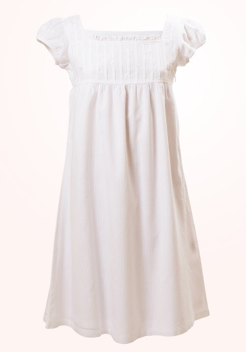 Jane Girls Short Dress in White Voile stripe
