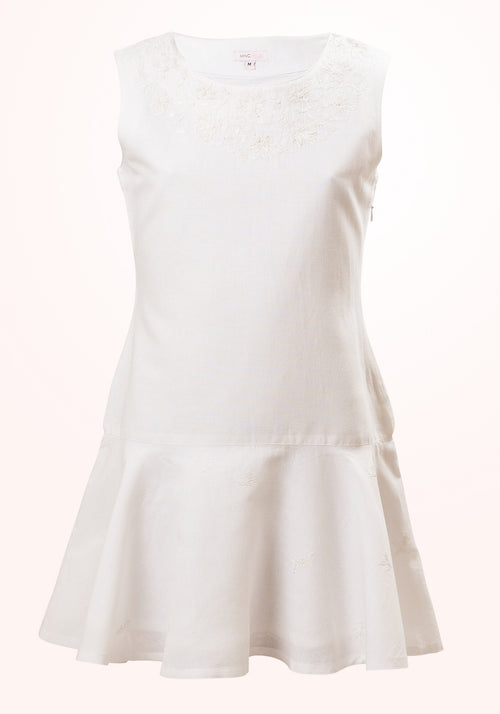Jasmine Girls Short Dress in White Linen