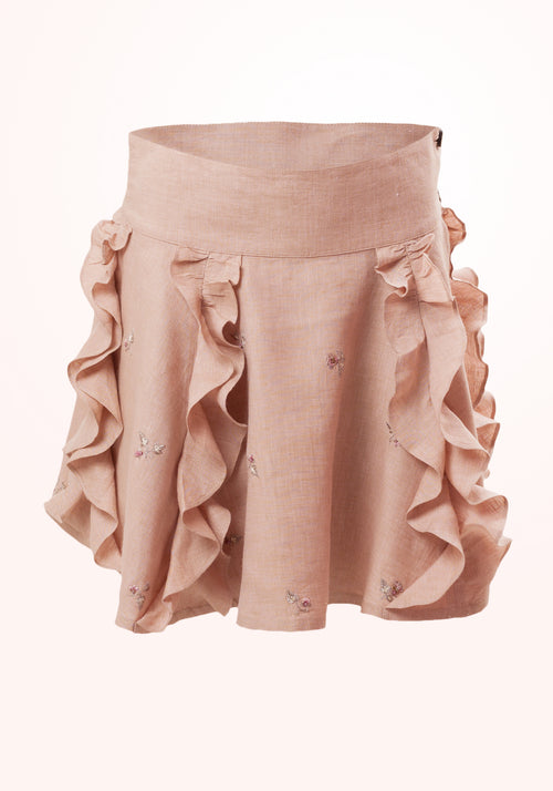 Frosted Almond Girls Skirt in Beige Embroidered Linen