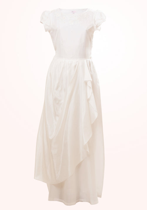 Alexandra Embroidered Gown in White Silk for Girls