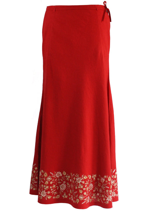 Ankle length Skirt in Red linen with Beige Embroidery