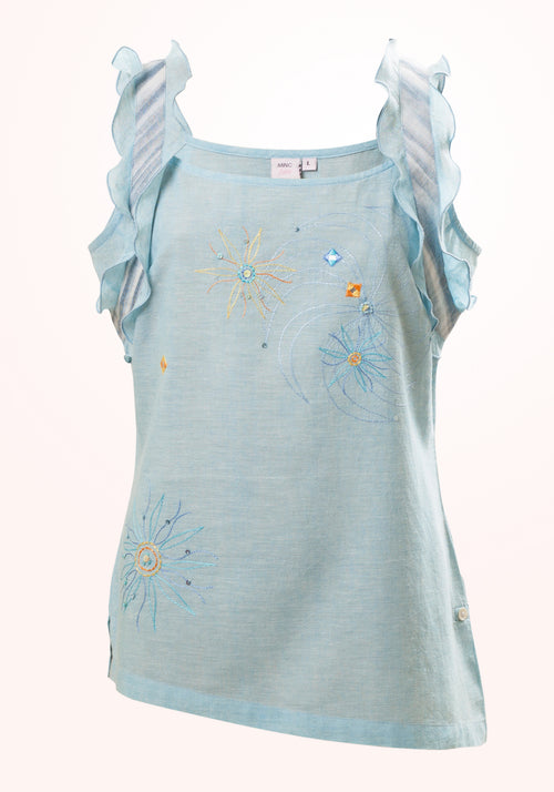 Whispering Blue Girls Top In Blue Cotton Khadi