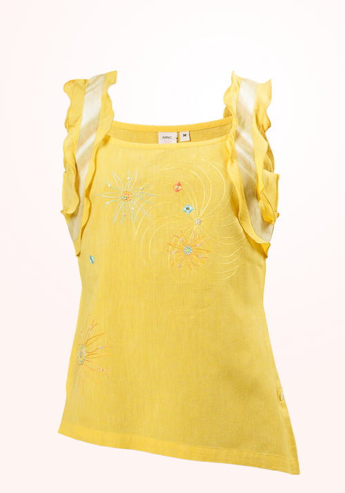 Daffodil Girls Top In Yellow Cotton Khadi