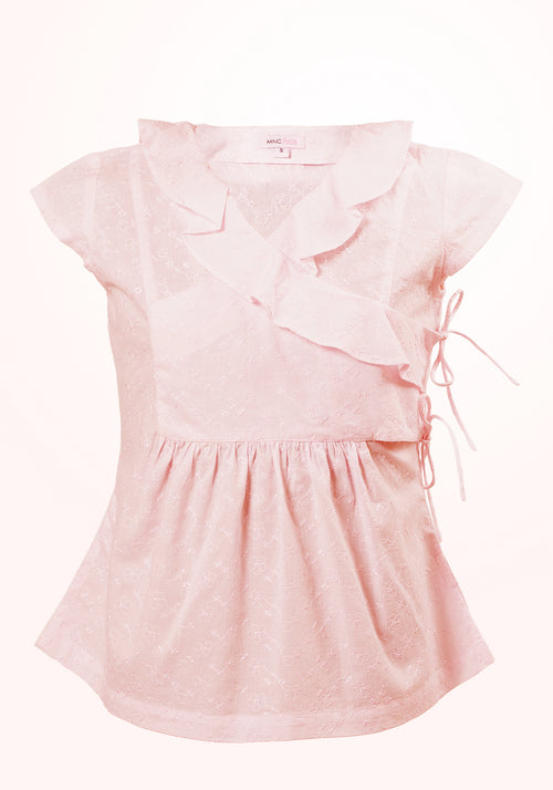 Pink Mist Girls Top with Ruffle Trim Collar