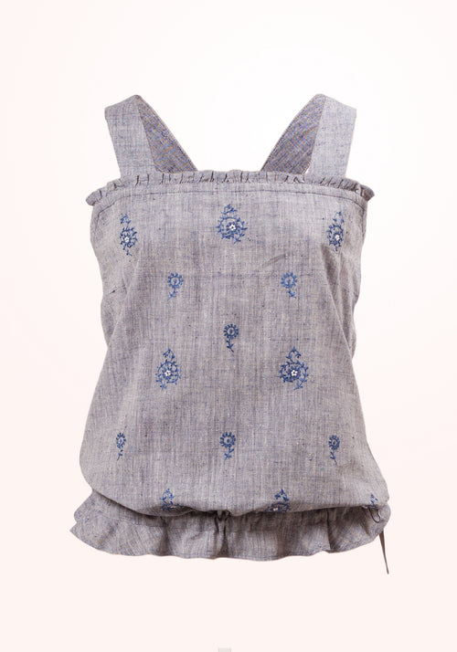 Aqua Haze Girls Top In Blue Cotton Khadi