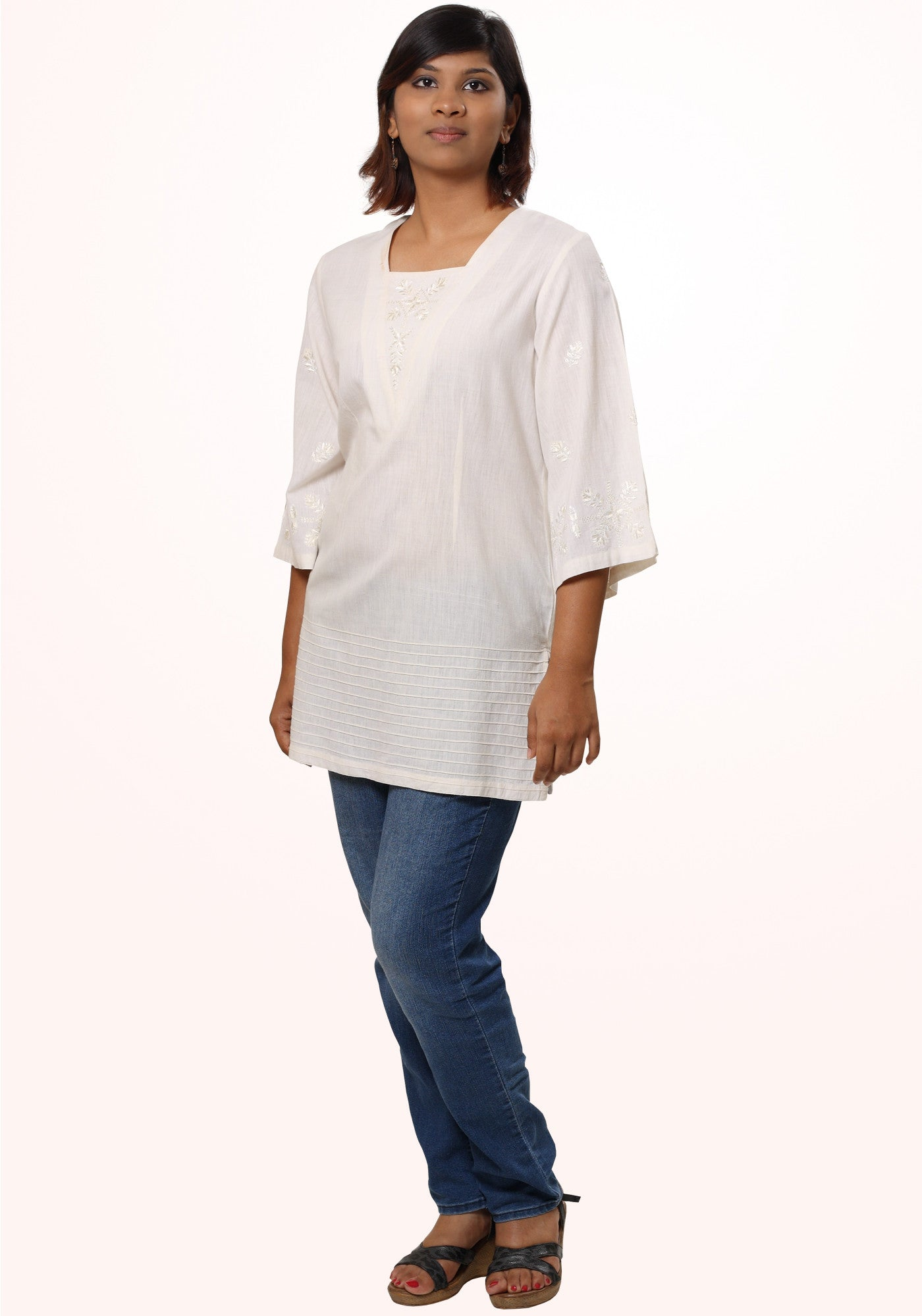 Embroidered Tunic in Ivory Cotton khadi - MINC ecofashion