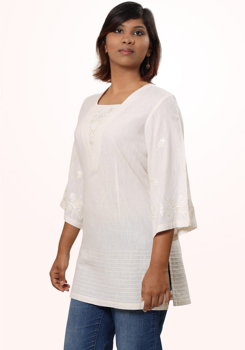 Embroidered Tunic in Ivory Cotton khadi