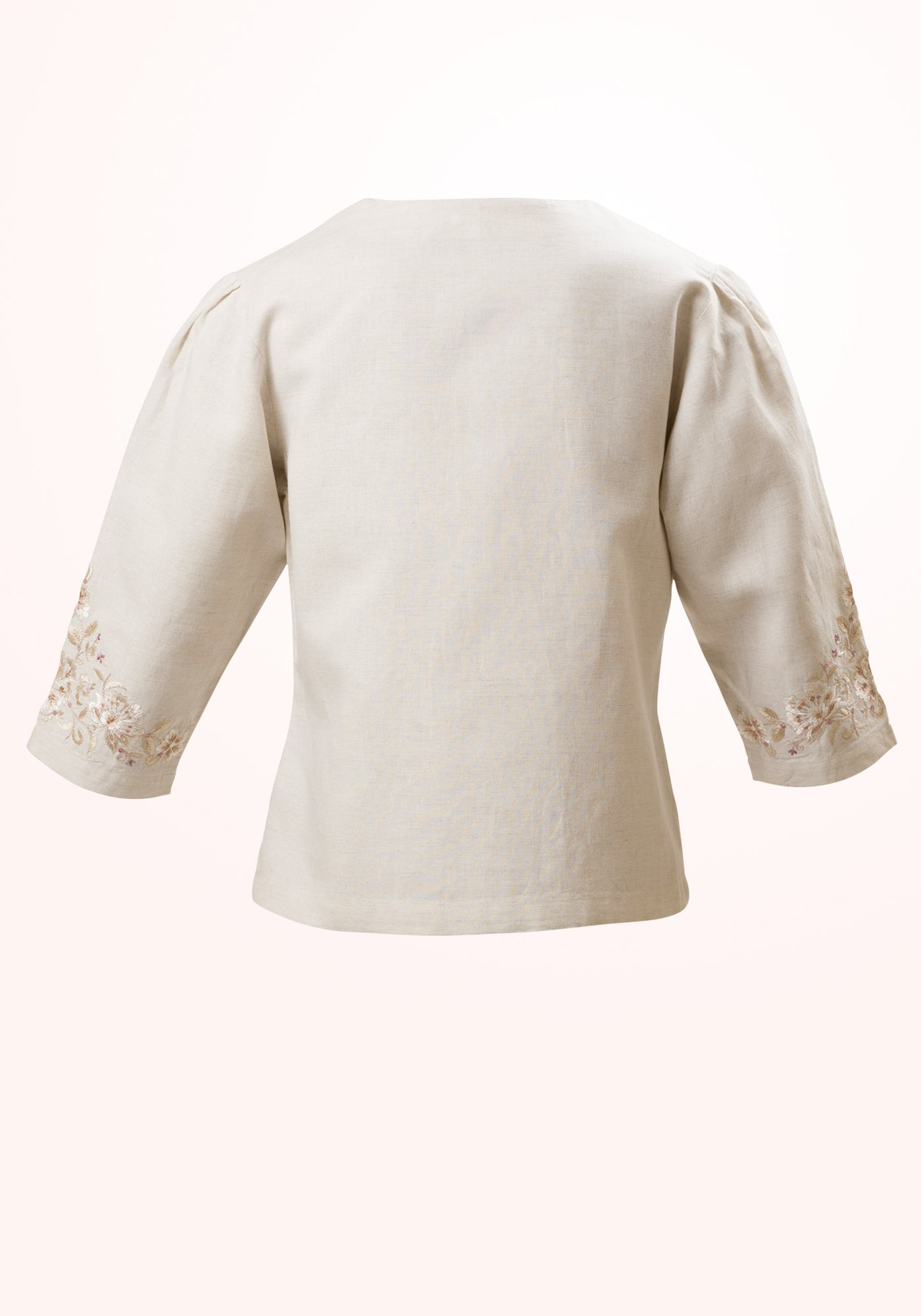 French Vanilla Girls Jacket in Embroidered Linen - MINC ecofashion