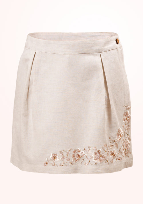 Frappe Girls Skirt in Off White Embroidered Linen