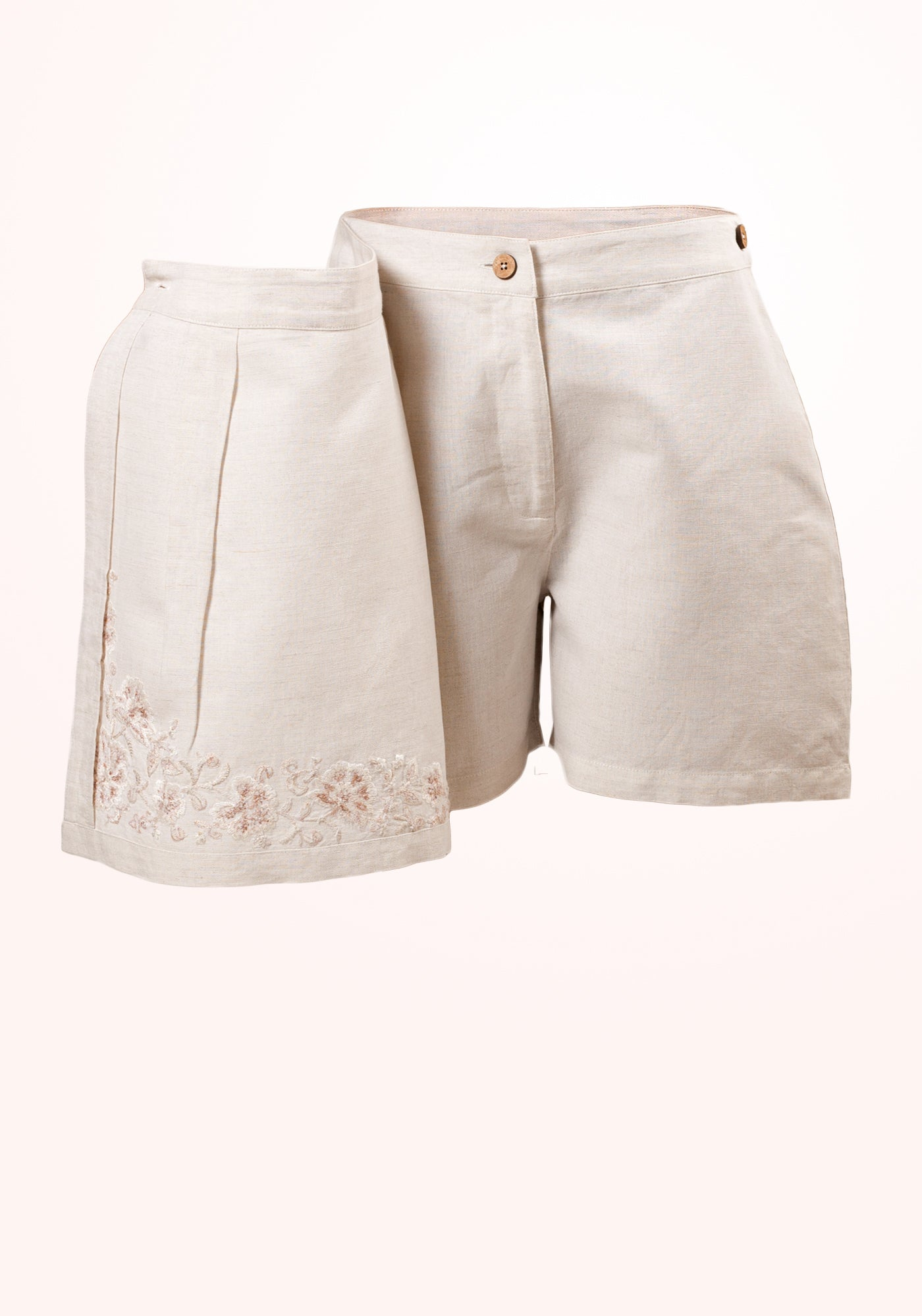 Frappe Girls Skirt in Off White Embroidered Linen - MINC ecofashion