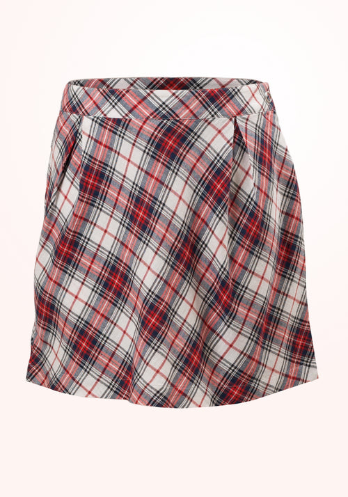 Tartan Girls Skirt in Red, White and Blue Cotton Checks