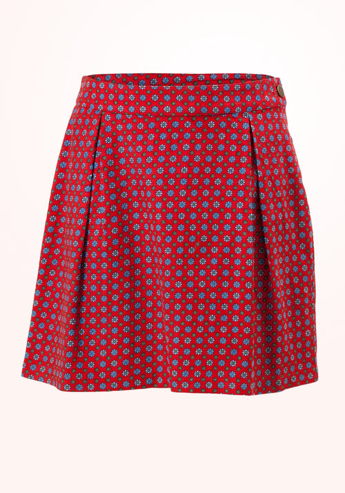 Holly Berry Girls Skirt in Red Printed Cord