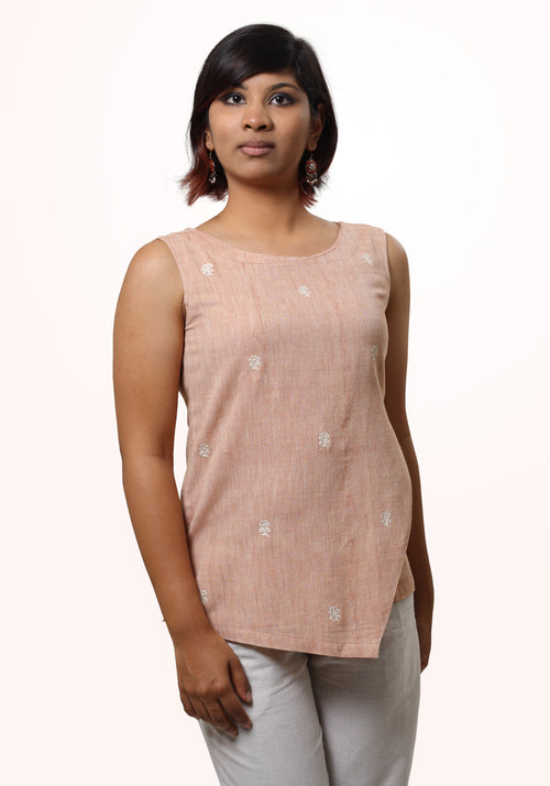 Sleeveless Asymmetric Tunic in Orange Cotton Khadi