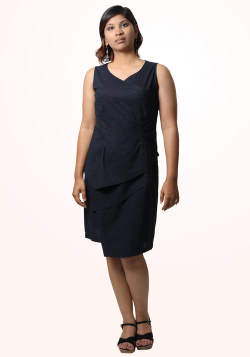 Helena Asymmetric Little Black Dress in Layered Cotton Voile