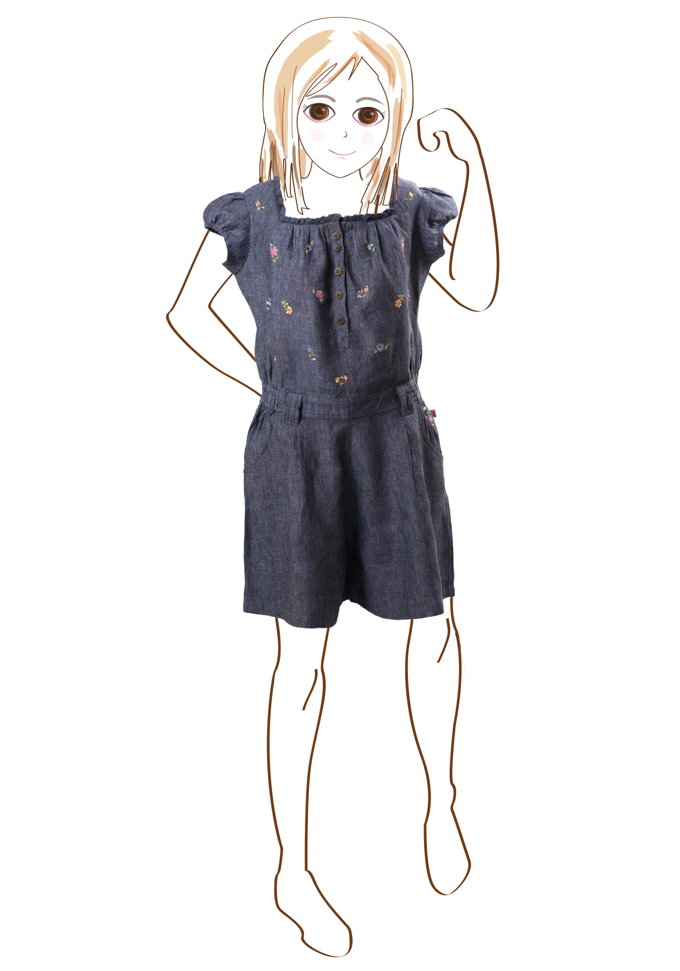 Bluebell Girls Jumpsuit in Denim Blue Linen - MINC ecofashion