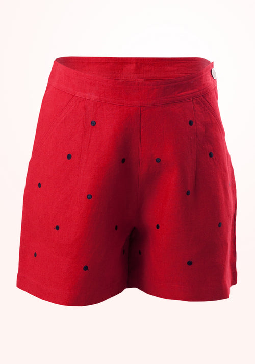 Strawberry Girls Shorts in Red Embroidered Linen