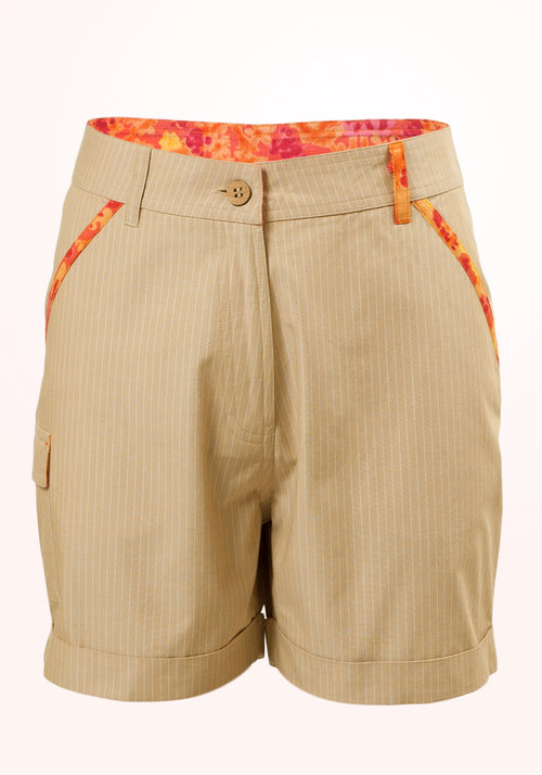 Desert Safari Girls Shorts in Beige Cotton