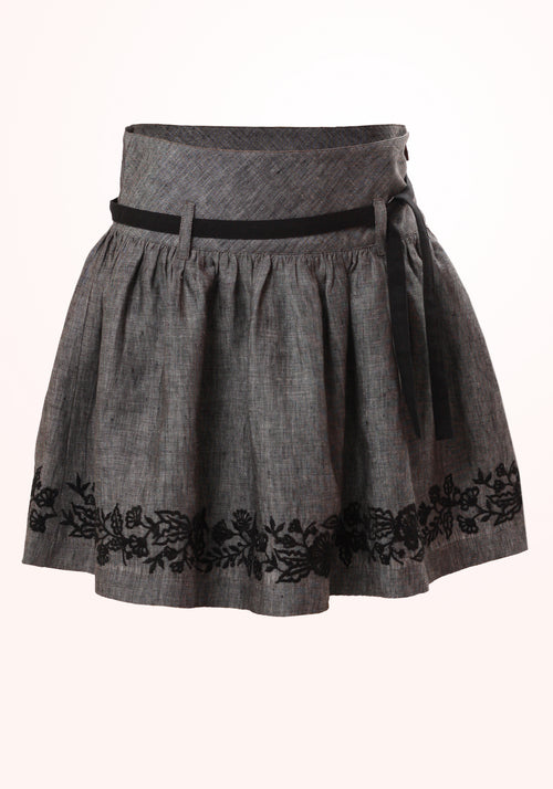 Rock Chick Girls Skirt in Grey Linen