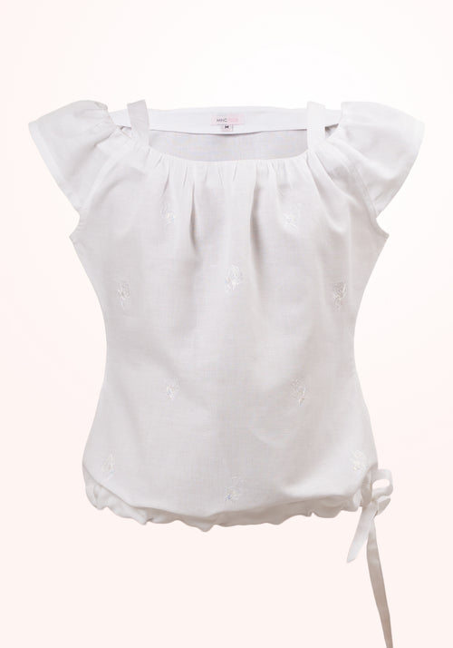 Lily Girls Top In White Linen Cotton