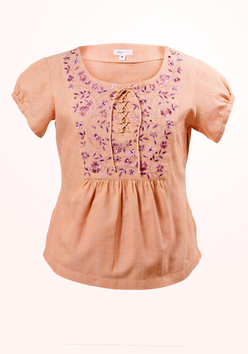 Honey Dew Girls Top In Orange Cotton Khadi