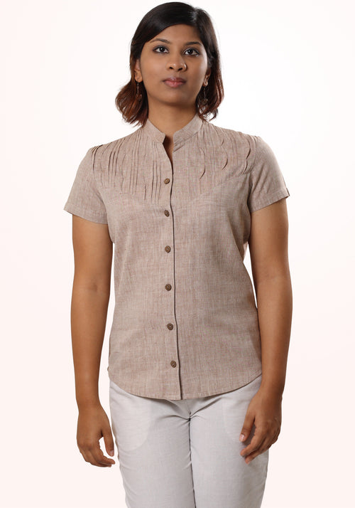 Slim Fit Shirt in Beige Cotton Khadi