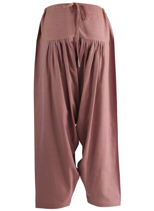 Pleated Drawstring Pants in Purple Cotton Khadi