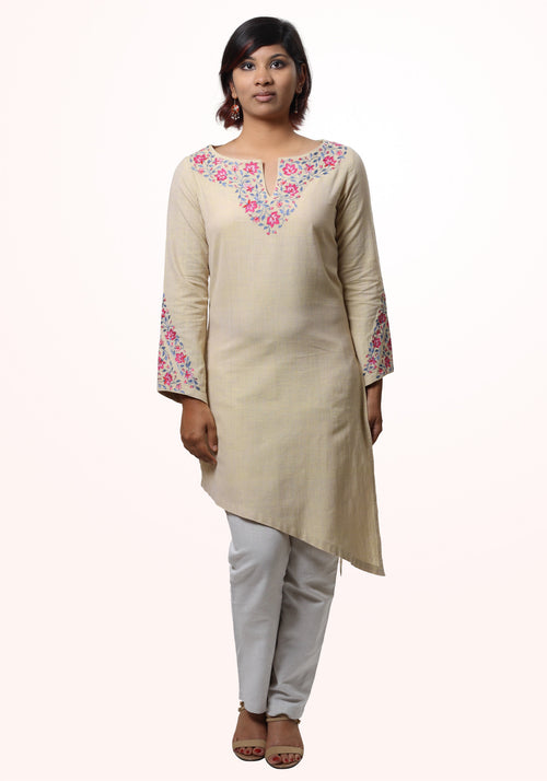 Ragini Embroidered Kurta in Yellow Cotton Khadi