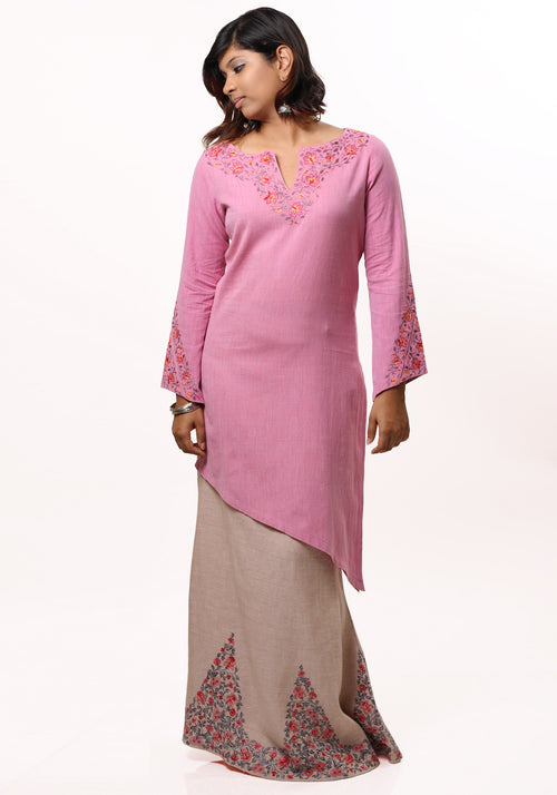Ragini Embroidered Kurta in Pink Cotton Khadi