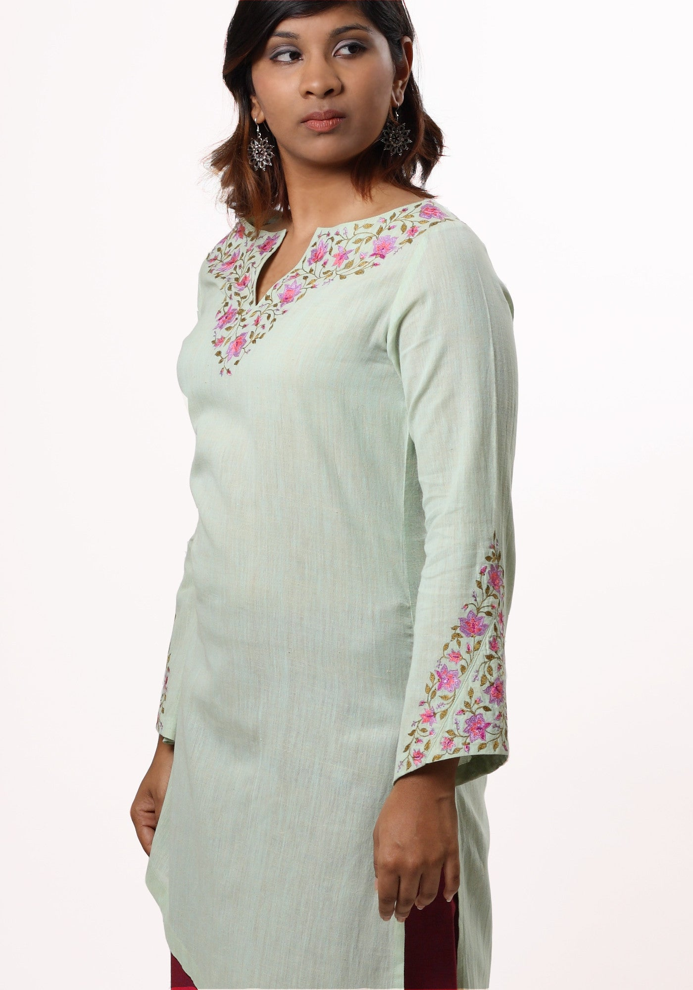 Ragini Embroidered Kurta in Green Cotton Khadi - MINC ecofashion