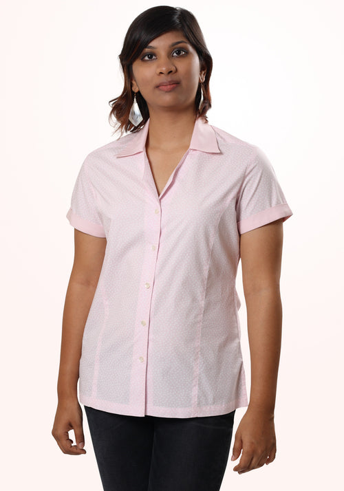 Monochrome Shirt In Pink Printed Cotton