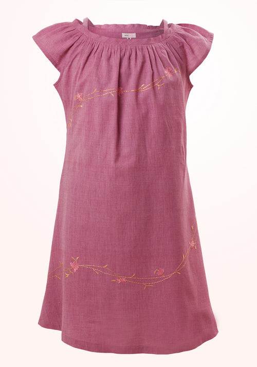 Mauve Magic Girls Short Dress in Purple Cotton Khadi