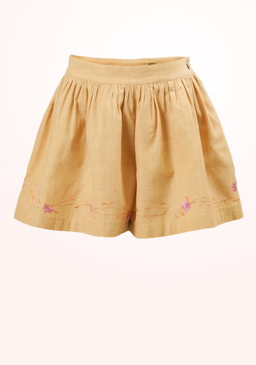 Ginger Girls Shorts in Beige Cotton Khadi