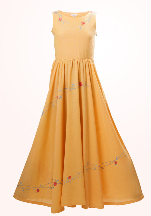 Marigold Girls Long Dress in Yellow Cotton Khadi