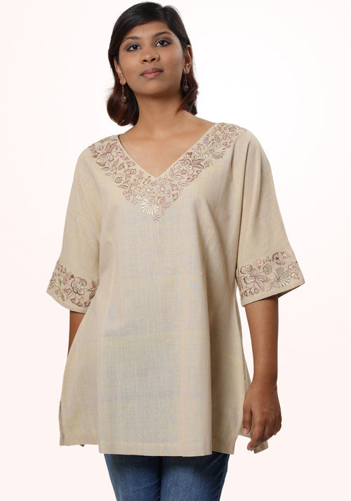 Embroidered Kaftan tunic in beige cotton khadi