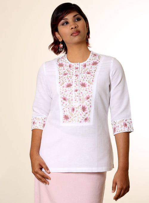 Rebecca Hand Embroidered Linen Kurti in White