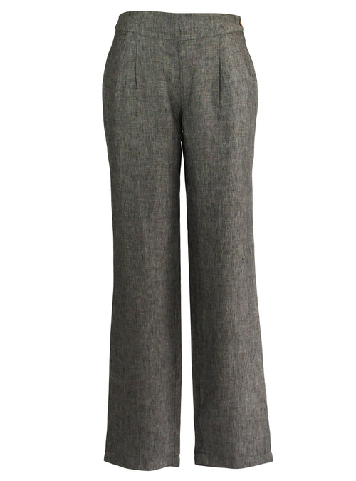Pleated Linen Trousers in Frost Grey