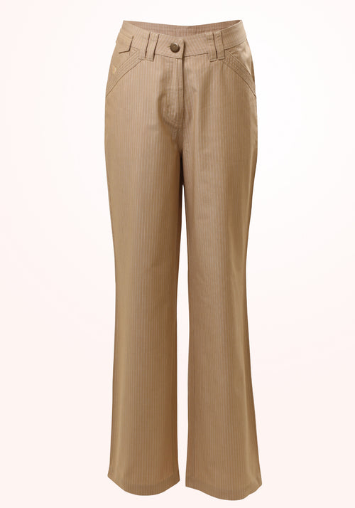 Safari Girls Trousers in Beige Stripe Cotton
