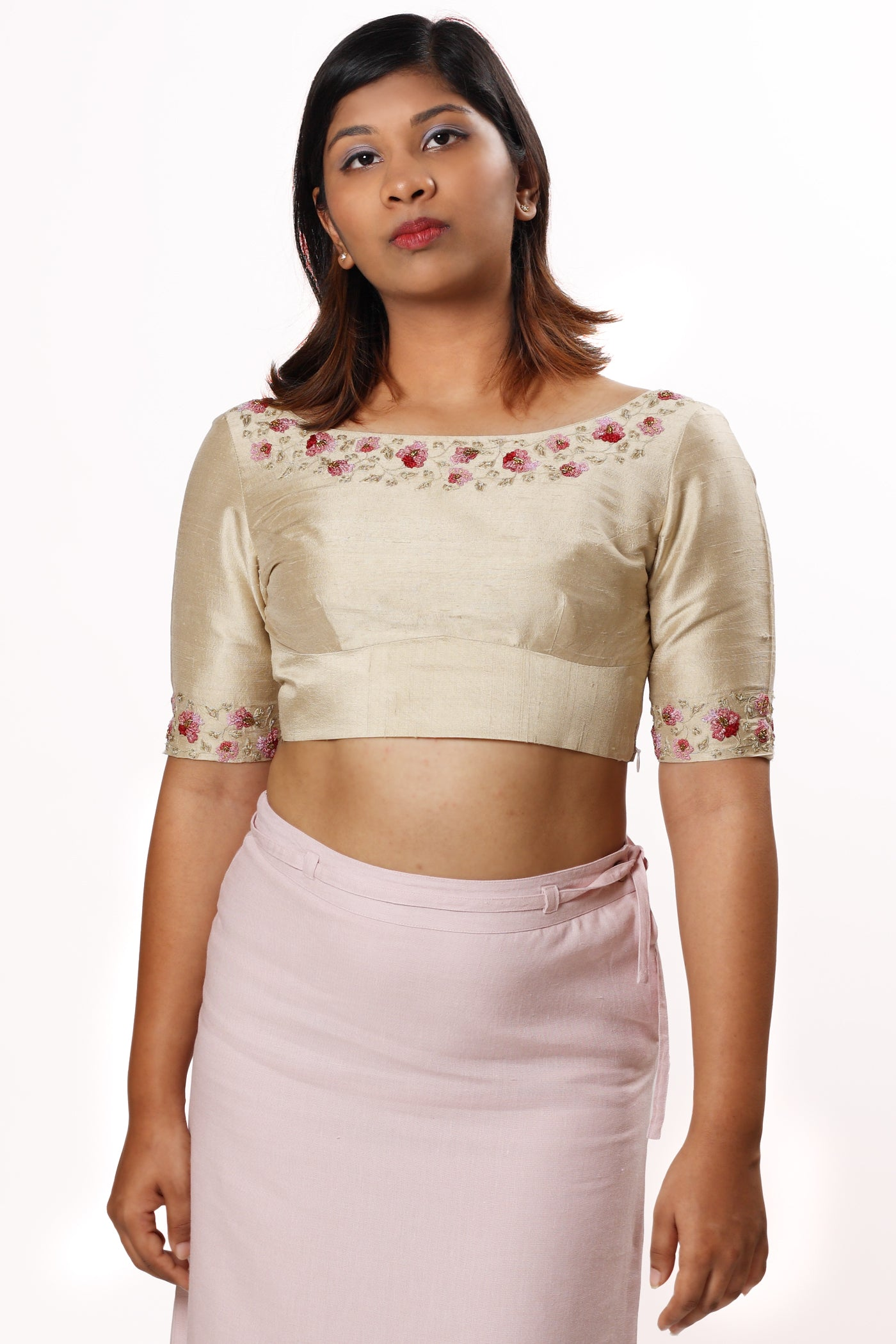 Hand Embroidered Blouse in Beige Silk - MINC ecofashion